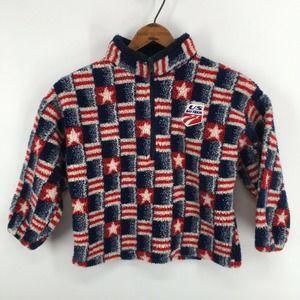US Ski Team Deep Pile American Flag Fleece Jacket
